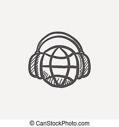 mundo, bosquejo, música, icono