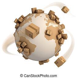 mundo, cajas, cartón, alrededor