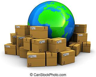 mundo, carga, y, envío