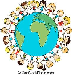 mundo, caricatura, amizade, crianças, cartaz