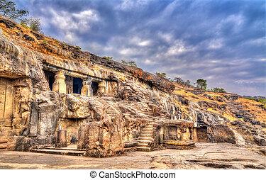 mundo, caverna, índia, local, maharashtra, ellora, herança, unesco, 20.