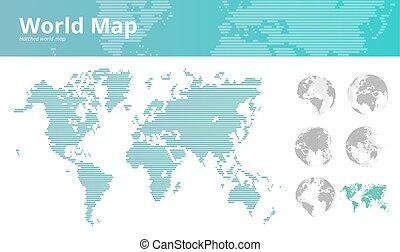 mundo, chocado, mapa