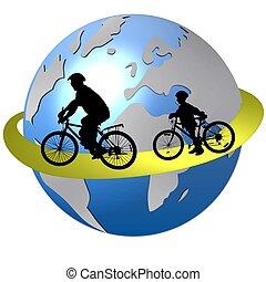 mundo, ciclismo, ao redor