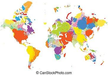 mundo, coloridos, mapa