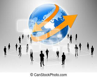 mundo, comércio pessoas, equipe