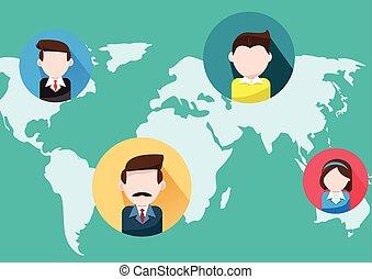mundo, comércio pessoas, mapa
