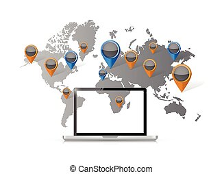 mundo, computador, localizações, ilustração, mapa