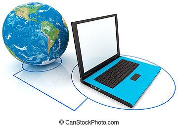 mundo, computador portatil, conectado
