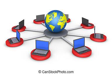mundo, computadores, conectado