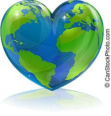 mundo, conceito, ame coração