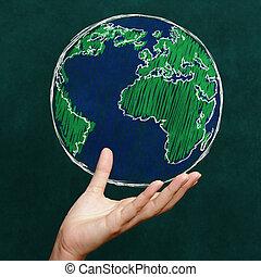 mundo, conceito, chalkboard, segurando mão