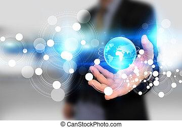 mundo, conceito, conectado,  social, rede