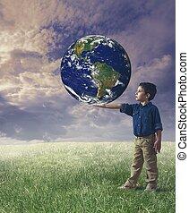 mundo, conceito, salvar