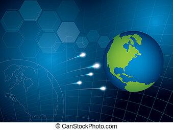 mundo, conceito, tecnologia, fundo