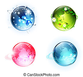 mundo, conceitual, globos, lustroso