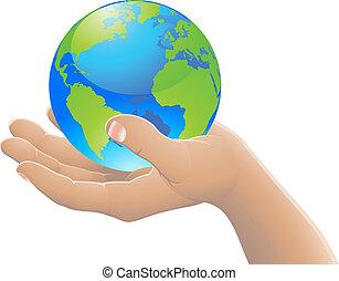 mundo, concepto, su, mano