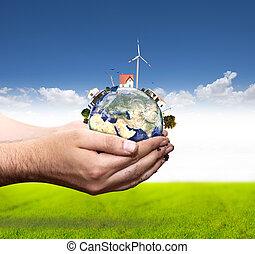 mundo, concepto, verde