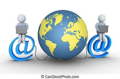 mundo, conectado, duas pessoas