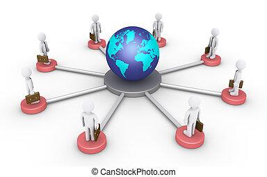 mundo, conectado, homens negócios