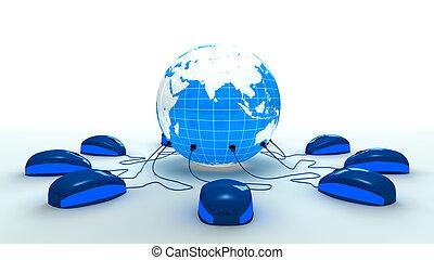 mundo, conectado, mouses