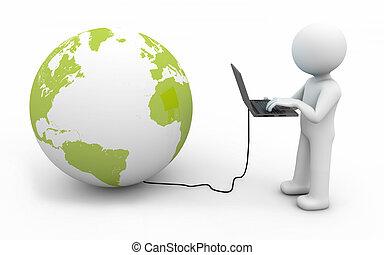 mundo, conexión, computadora