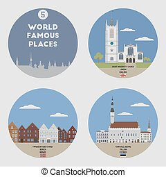 mundo, conjunto, 5, famoso, places.