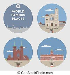mundo, conjunto, 8, famoso, places.