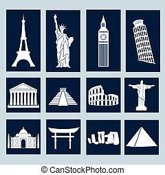 mundo, conjunto, señales, iconos
