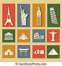mundo, conjunto, señales, plano, iconos
