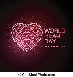 mundo, coração, dia, fundo