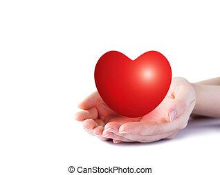 mundo, corazón, día, concepto, de, mujer joven, tenencia de...