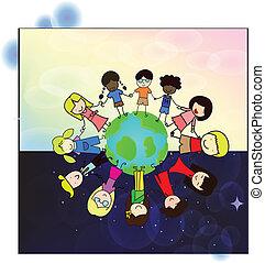mundo, crianças, ao redor, holdding, mão