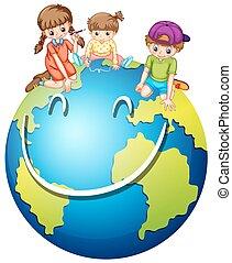 mundo, crianças, feliz
