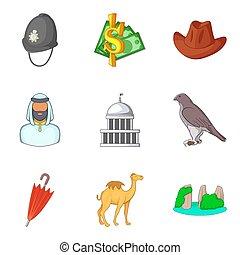mundo, culto, iconos, conjunto, caricatura, estilo