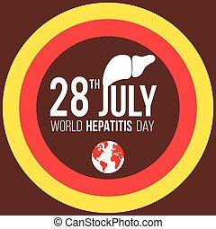 mundo, día, ilustración, hepatitis