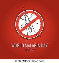 mundo, día, malaria, cartel