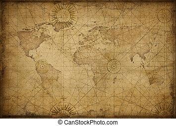 mundo, denominado, retro, mapa