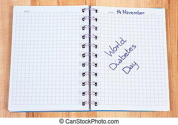 mundo, diabetes, día, escrito, en, cuaderno