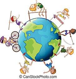 mundo, diferente, tipos, ao redor, esportes