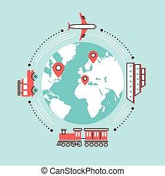 mundo, diferente, transporte, ao redor, viajando