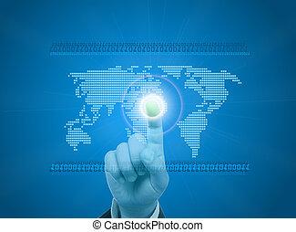 mundo digital, conceito, gráfico, incluindo, digital, mapa, de, mundo