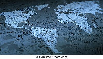 mundo, digital, networking