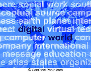 mundo digital, palabras, en, mapa, actuación, global, internet, o, mundial, establecimiento de una red