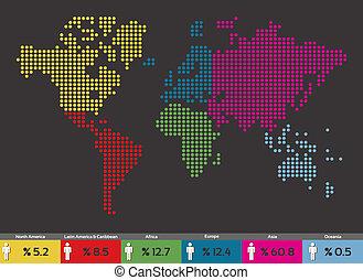 mundo, distribución, global, población, mapa