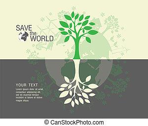 mundo, ecológico, salvar, verde