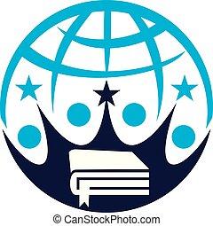 mundo, educação, logotipo, desenho, modelo, vetorial
