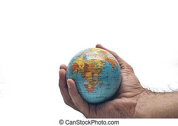 mundo, em, mão, isolado