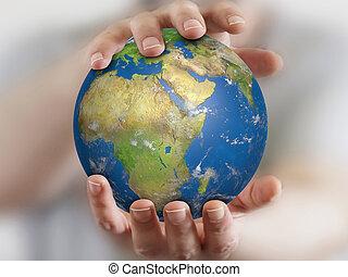 mundo, em, mãos