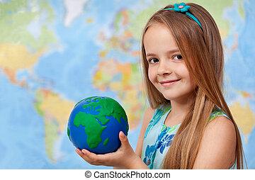 mundo, em, meu, mãos, -, menininha, em, geografia, classe