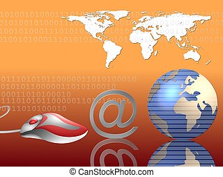 mundo, email, ao redor